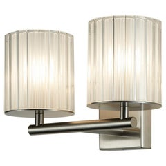 Flute Double Wall Sconse by Tom Kirk in Polished Chrome