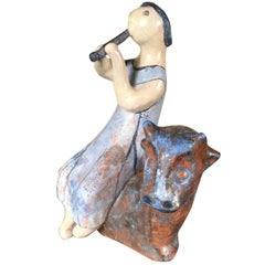 Flute Player Master Work Sculpture Hand-Painted by Eva Fritz-Lindner