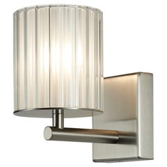 Flute Wall Light by Tom Kirk in Brushed Nickel with Frosted Glass