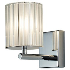 Flute Wall Light by Tom Kirk in Polished Chrome with Frosted Glass