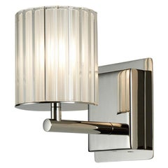 Flute Wall Light by Tom Kirk in Polished Nickel with Frosted Glass