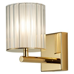 Flute Wall Light by Tom Kirk in Polished Gold with Frosted Glass