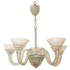Fluted and Textured Murano Chandelier
