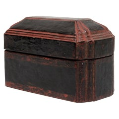 Fluted Asian Black Lacquer Box