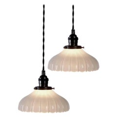 Fluted Clam Broth Bell Pendent, Pair