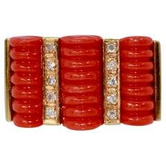 Fluted Coral Diamond Ring 14 Karat Yellow Gold