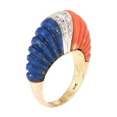 Fluted Coral Lapis Lazuli Diamond Dome Ring Vintage 14 Karat Gold Estate Fine