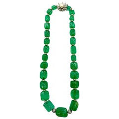 Fluted Emerald Bead and Diamond Necklace