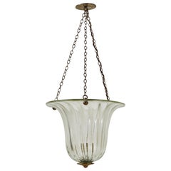 Fluted Glass Bell Pendant with Brass Chain