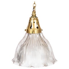Fluted Glass Hanging Light by Holophane