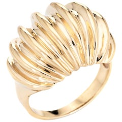 Fluted Gold Domed Ring Vintage 10 Karat Yellow Gold Estate Cocktail Jewelry