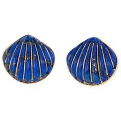 Fluted Lapis Lazuli Shell Earrings Vintage 14 Karat Gold Fine Ocean Jewelry