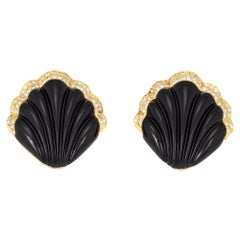 Fluted Onyx Diamond Shell Earrings Vintage 18 Karat Yellow Gold Large Cocktail