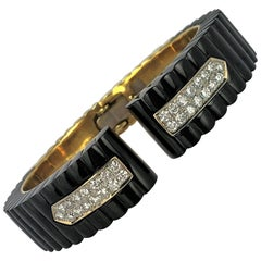 Fluted Onyx Gold and Diamond Split Front Cuff Bangle