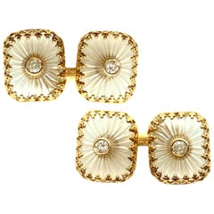 Fluted Rock Crystal and Diamond Yellow Gold Cufflinks