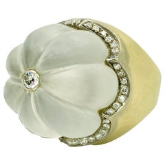 Fluted Rock Crystal and Diamond Dome Ring