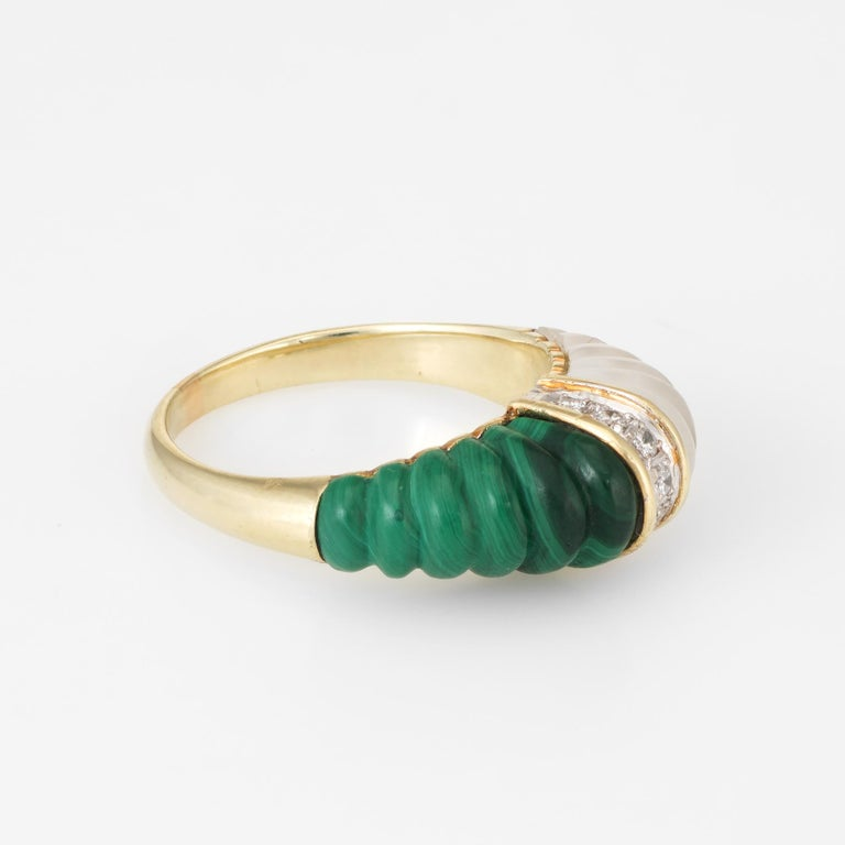 Modern Fluted Rock Crystal Malachite Diamond Dome Ring Vintage 14k Yellow Gold Estate For Sale