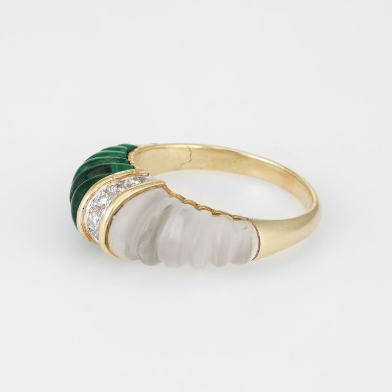 Fluted Rock Crystal Malachite Diamond Dome Ring Vintage 14k Yellow Gold Estate In Excellent Condition For Sale In Torrance, CA