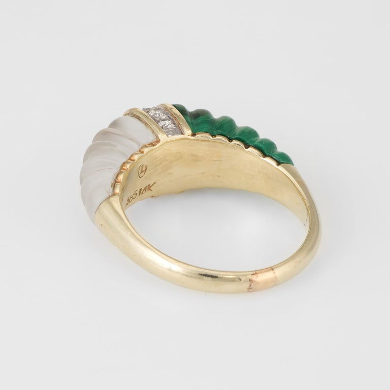 Women's Fluted Rock Crystal Malachite Diamond Dome Ring Vintage 14k Yellow Gold Estate For Sale