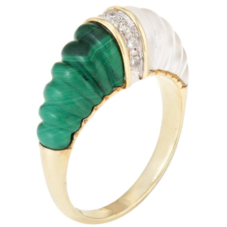 Fluted Rock Crystal Malachite Diamond Dome Ring Vintage 14k Yellow Gold Estate For Sale