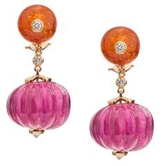 Goshwara Fluted Rubelite With Morganite Bead And Diamond Earring