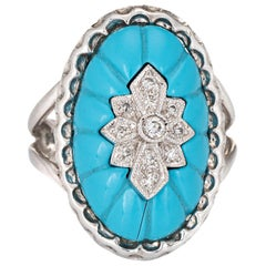 Fluted Turquoise Diamond Oval Cocktail Ring Vintage 14 Karat Gold Fine Jewelry