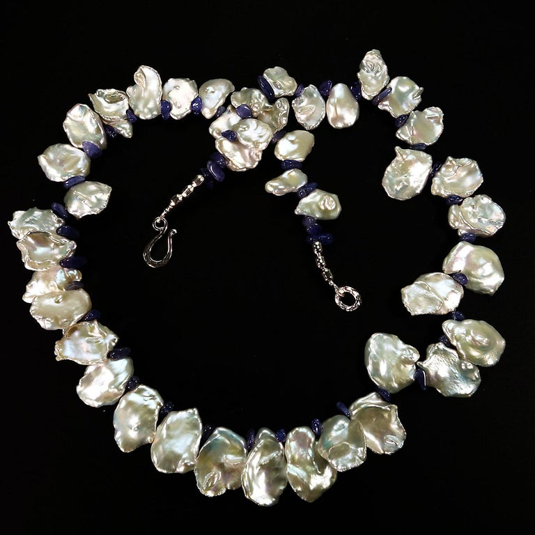 Women's or Men's Fluttering White Keshi Pearl Necklace with Sparkling Tanzanite Accents For Sale