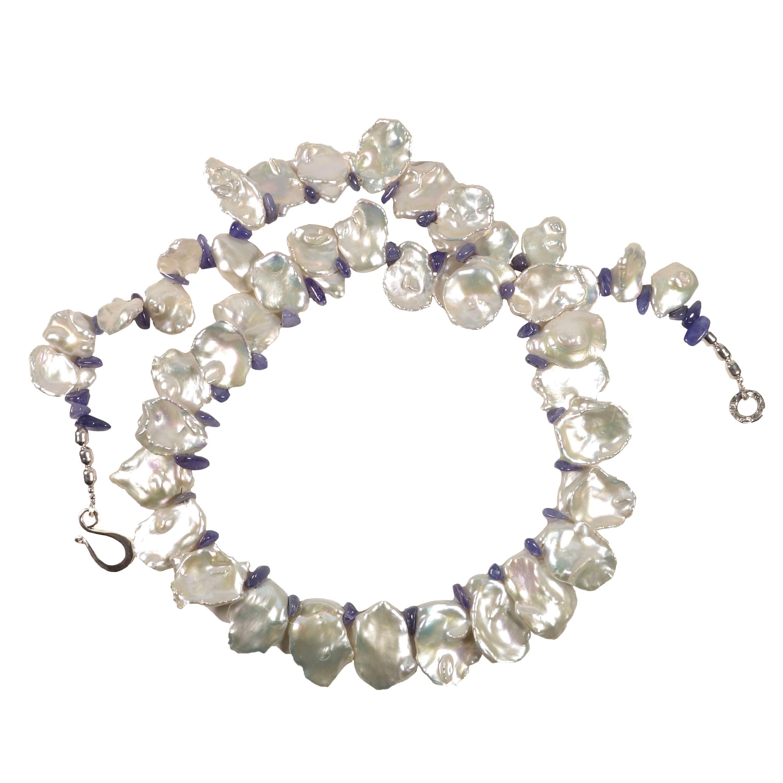 Gemjunky Fluttering White Keshi Pearl Necklace Tanzanite Accents June Birthstone