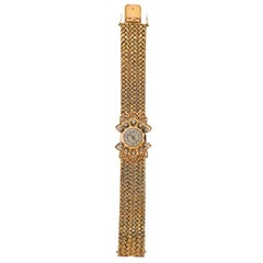 Fluva France 1940s Retro Diamond Gold Wristwatch