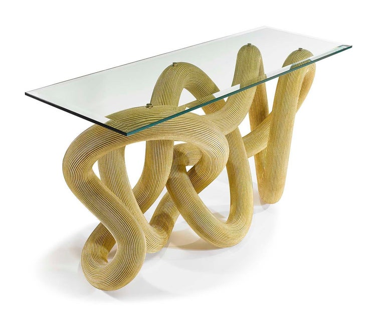 British Console Table in Brass Wire, Flux by Jake Phipps For Sale