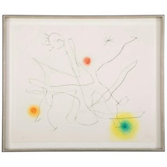 """Flux de L' Aimant"" Drypoint & Color Aquatint by Joan Miro"