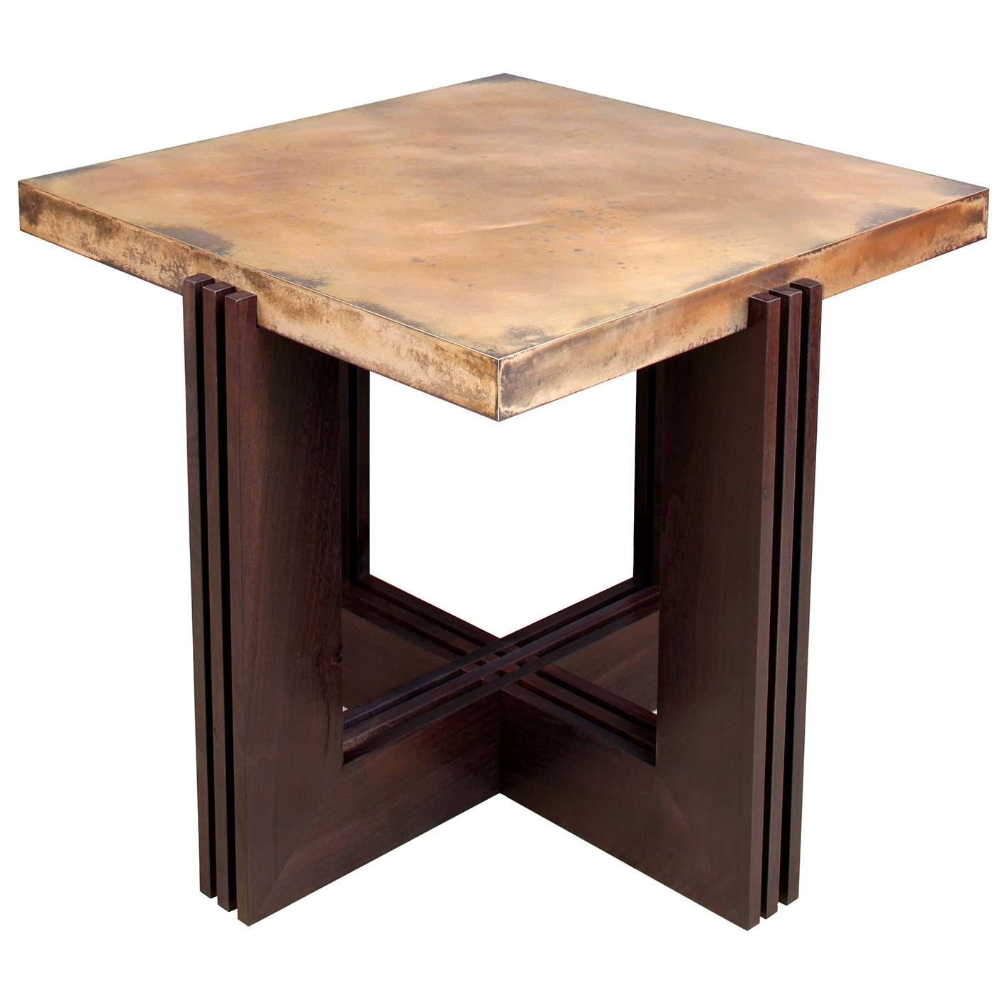 """FLW"" Side Table in Etched Bronze and Ebonized Walnut by Studio Roeper"