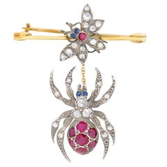 'Fly and Spider' Diamond, Ruby and Sapphire Brooch, circa 1950s