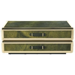Fly Case 2 Drawers Night Table in Cavallino leather and metal by Roberto Cavalli