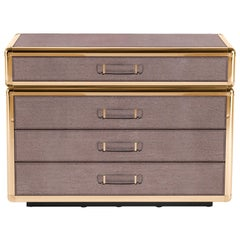 Fly Case Chest Of Drawers in Wood and Leather by Roberto Cavalli Home Interiors