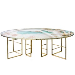 Flight dining room table brass legs diamond cut double glass top silvered