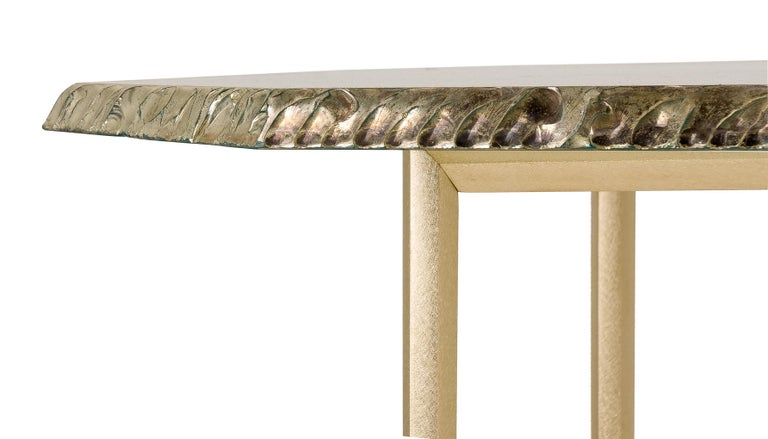 Diamond Contemporary Console, One of a Kind Item, Silvered Glass, Cast Brass For Sale 4