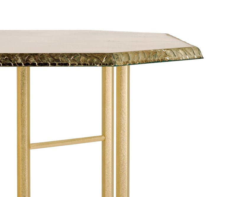 Diamond Contemporary Console, One of a Kind Item, Silvered Glass, Cast Brass For Sale 5