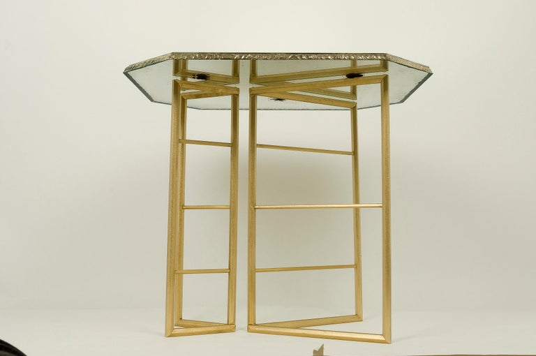 Modern Diamond Contemporary Console, One of a Kind Item, Silvered Glass, Cast Brass For Sale