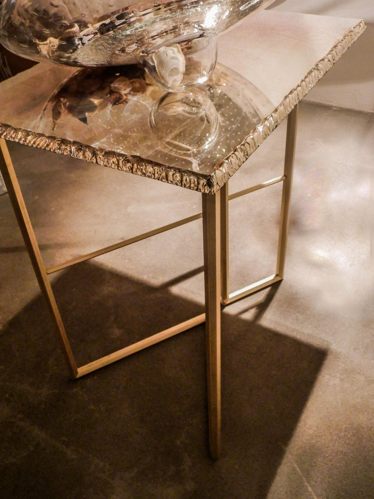 Diamond Contemporary Console, One of a Kind Item, Silvered Glass, Cast Brass For Sale 2