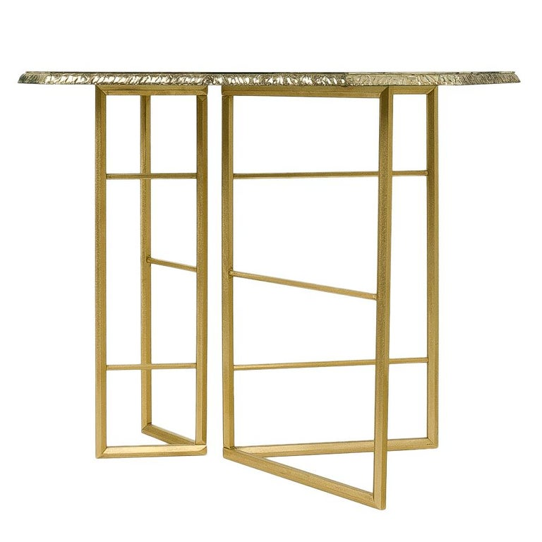 Italian Diamond Contemporary Console, One of a Kind Item, Silvered Glass, Cast Brass For Sale