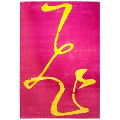 """Flying"" Chinese Ideogram Rug Designed by Paola Billi, Yellow Silk and Pink Wool"