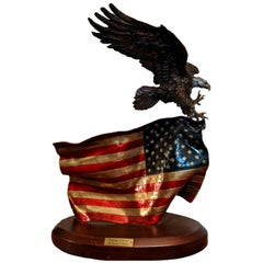 """""""Flying Colors"""" Bald Eagle and Flag Bronze Sculpture by Lorenzo Ghiglieri, 2001"""