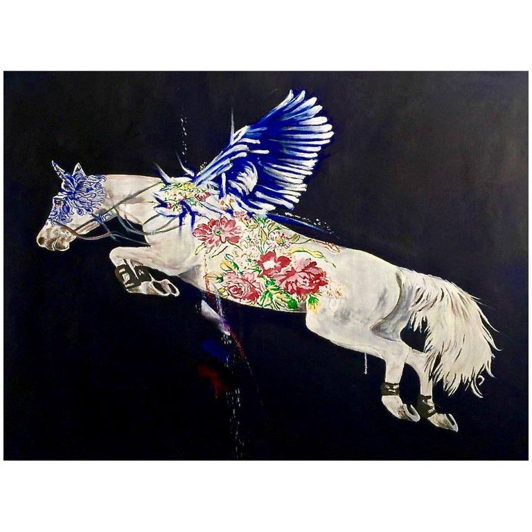 Flying Horse Oil on Canvas For Sale