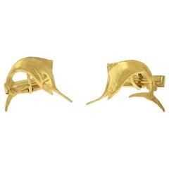 Flying Swordfish Yellow Gold Cufflinks