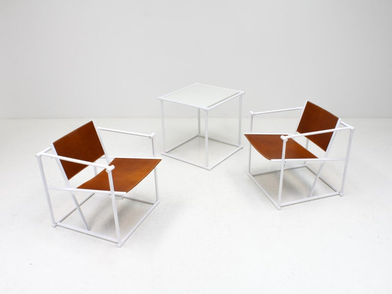 Post-Modern FM62 Steel & Leather Chairs & Side Table by Radboud Van Beekum for Pastoe, 1980s For Sale