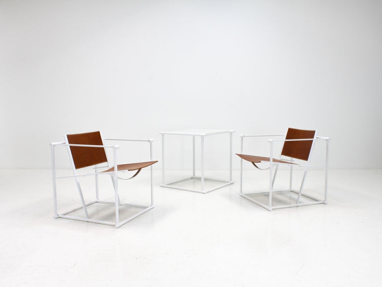 Dutch FM62 Steel & Leather Chairs & Side Table by Radboud Van Beekum for Pastoe, 1980s For Sale