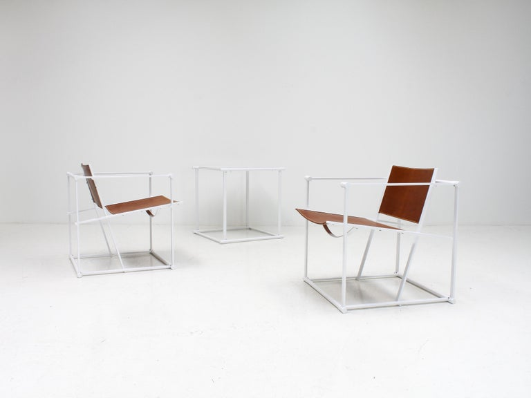 20th Century FM62 Steel & Leather Chairs & Side Table by Radboud Van Beekum for Pastoe, 1980s For Sale