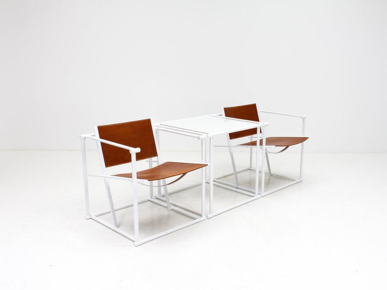 FM62 Steel & Leather Chairs & Side Table by Radboud Van Beekum for Pastoe, 1980s For Sale 1