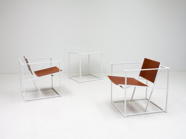 FM62 Steel & Leather Chairs & Side Table by Radboud Van Beekum for Pastoe, 1980s For Sale 2